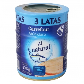 Atún claro al natural Carrefour pack de 3 unidades de 104 g.