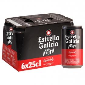 Cerveza Estrella Galicia especial pack de 6 latas de 25 cl.