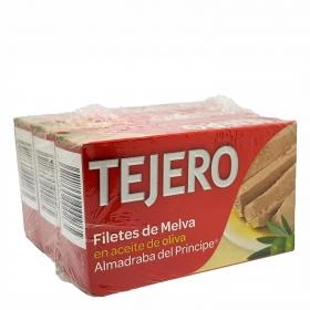 Filetes de melva de Andalucía en aceite de oliva Tejero pack de 3 unidades de 78 g.