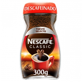 Café soluble descafeinado classic Nescafé 300 g.
