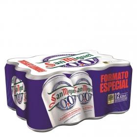 Cerveza San Miguel 0,0 sin alcohol Lager pack de 12 latas de 33 cl.