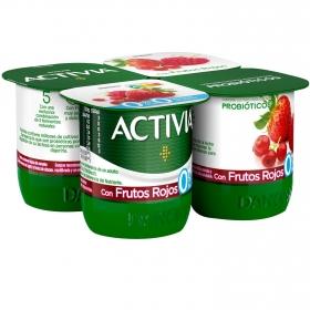 Yogur bífidus desnatado con frutos rojos Danone - Activia pack de 4 unidades de 125 g.