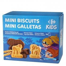 Galletas recubiertas de chocolate y leche Mini Biscuits Carrefour Kids 160 g.