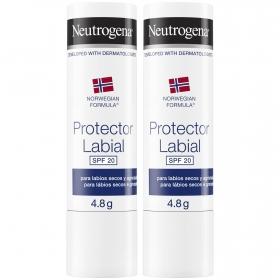Protector labial FP 20 Neutrogena pack de 2 unidades de 15 g.