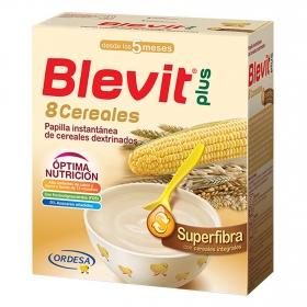 Papilla infantil desde 6 meses de 8 cereales integrales sin azúcar añadido Blevit plus Superfibra 600 g.