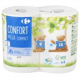 Papel higiénico triple rollo de 2 capas Carrefour 4 rollos.