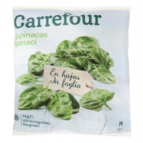 Espinacas hojas en porciones Carrefour 1 kg.