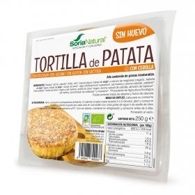 Tortilla de patata con cebolla sin huevo ecológica Soria Natural sin gluten y sin lactosa 250 g.