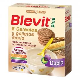Papilla infantil desde 5 meses de 8 cereales y galletas María Blevit plus 600 g.