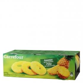 Piña con zumo de piña en rodajas Carrefour pack de 3 unidades de 139 g.