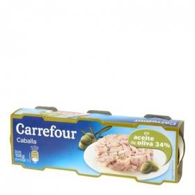 Caballa en aceite de oliva Carrefour pack de 3 unidades de 52 g.