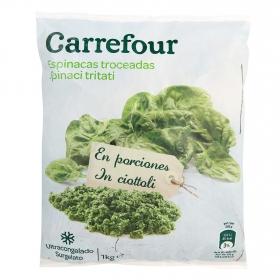 Espinacas cortadas Carrefour 1 kg.