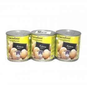 Champiñones enteros Carrefour pack de 3 unidades de 115 g.