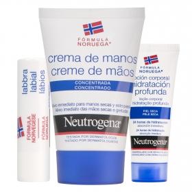 Pack crema de manos + loción corporal + labial Neutrogena 1 ud.