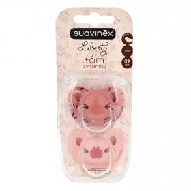 Chupete tetina de látex anatómica rosa desde 6 meses Suavinex 2 ud.