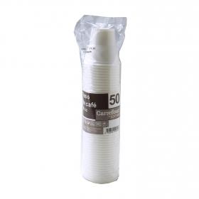 Vaso Café de Plástico CARREFOUR HOME  5,95x25,39cm 50 ud - Blanco