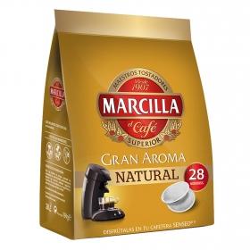 Café natural monodosis gran aroma Marcilla compatible con Senseo 28 unidades de 7 g.