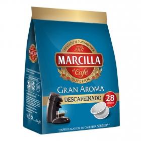 Café descafeinado monodosis Gran Aroma Marcilla compatible con Senseo 28 unidades de 7 g.