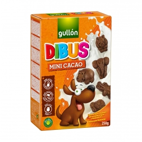Galletas de chocolate mini Dibus Gullón sin lactosa 250 g.