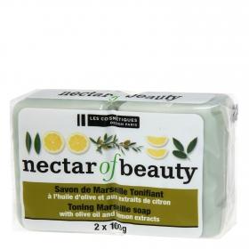 Jabón de manos en pastilla de Marsella con oliva y limón Les Cosmétiques Néctar of Beauty 2 ud.