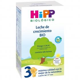 Leche infantil de crecimiento desde 12 meses en polvo ecológica Hipp caja 500 g.