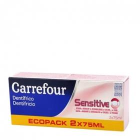Dentífrico para encias Carrefour pack de 2 unidades de 75 ml.
