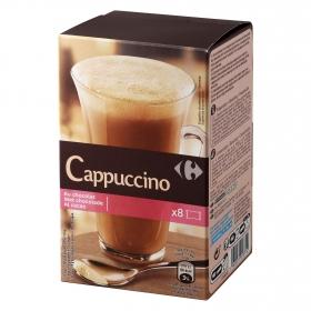 Café soluble natural cappuccino al cacao en sobres Carrefour 8 unidades de 18 g.