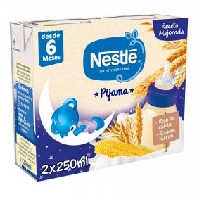 Leche infantil de continuación con cereales Pijama desde 6 meses Nestlé sin aceite de palma pack de 2 unidades de 250 ml