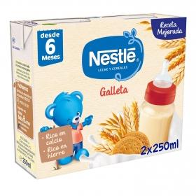 Leche infantil de continuación cereales con galleta maría desde 6 Meses Nestlé sin aceite de palma pack de 2 unidades de 250 ml