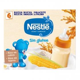 Leche infantil de continuación desde 6 meses con cereales Nestlé sin gluten pack 2 bricks de 250 ml.