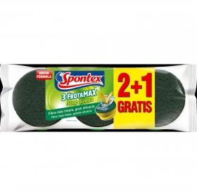 3 Estropajos salvauñas Frotamax Spontex  - Verde
