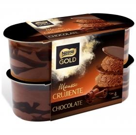 Mousse de chocolate crujiente Nestlé Gold pack de 4 unidades de 57 g.