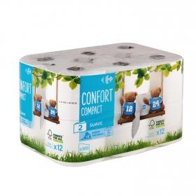 Papel higiénico compact doble rollo Carrefour 12 rollos.