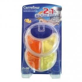 Ambientador desodorante de lavavajillas aroma limón Carrefour aparato + 2 recambios.