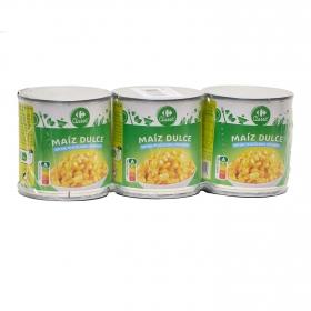 Maíz contenido bajo de sal y sin azúcar añadidos Carrefour pack de 3 unidades de 140 g.