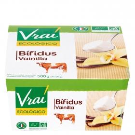 Yogur bífidus de vainilla ecológico Vrai pack de 4 unidades de 125 g.