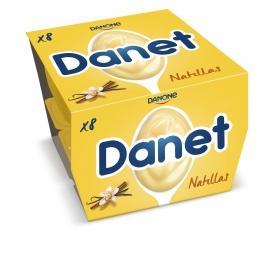 Natillas de vainilla Danone Danet sin gluten pack de 8 unidades de 125 g.