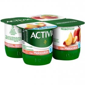 Yogur bífidus desnatado con melocotón Danone - Activia pack de 4 unidades de 125 g.
