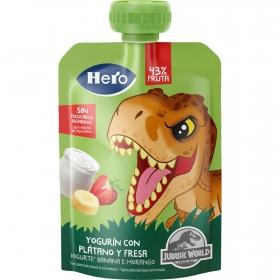 Yogur con plátano y fresa Hero Nanos Mi Merienda sin gluten bolsita de 100 g.