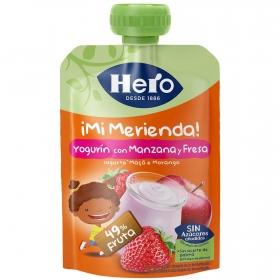 Yogur con fresa Hero Nanos Mi Merienda sin gluten bolsita de 100 g.