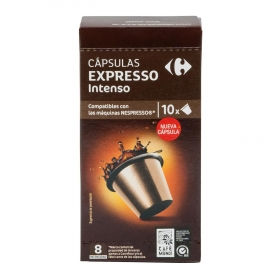 Café intenso en cápsulas Carrefour compatible con Nespresso 10 unidades de 5,2 g.