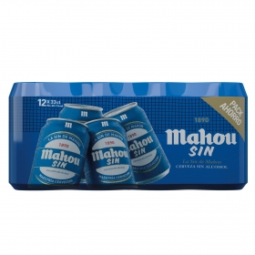 Cerveza Mahou Sin alcohol pack de 12 latas de 33 cl.