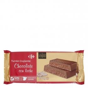Turrón de chocolate con leche crujiente Carrefour sin gluten 250 g.