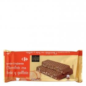 Turrón de chocolate con leche y galleta crujiente Carrefour 250 g.