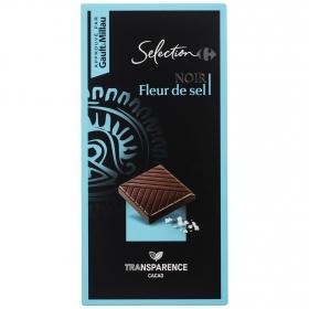 Chocolate negro con flor de sal Carrefour Selección 100 g.
