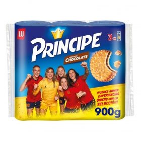 Galletas rellenas de crema de chocolate Príncipe pack de 3 unidades de 300 g.