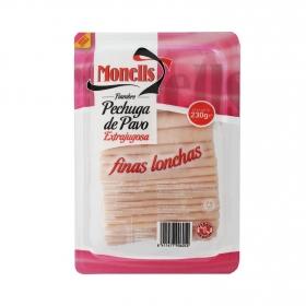 Pechuga de pavo extrajugosa finas lonchas Monells 230 g.