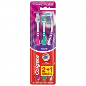 Cepillo dental zigzag medio Colgate 3 ud