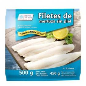 Filetes de merluza sin piel Antonio y Ricardo 500 g.