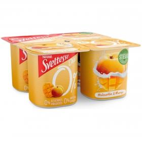 Yogur desnatado con trozos de melocotón y mango Nestlé - Sveltesse pack de 4 unidades de 125 g.